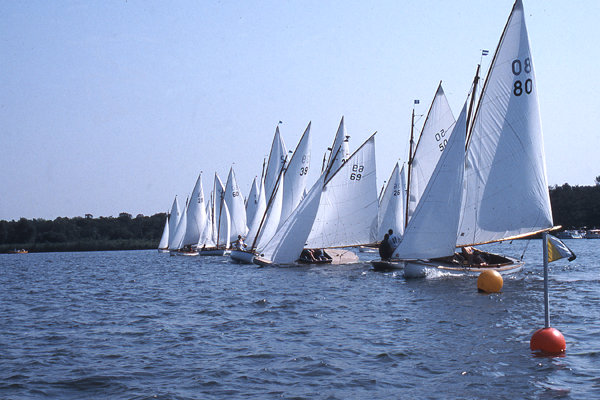 The start of the Gold Cup fleet at the end of Woxham Week in 2002.