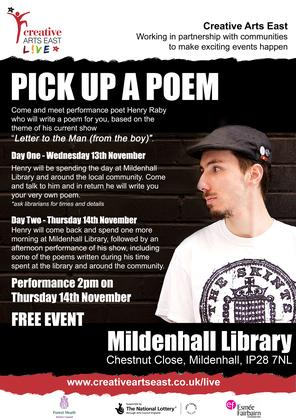Pick up a Poem at the Library. Two Day Event.