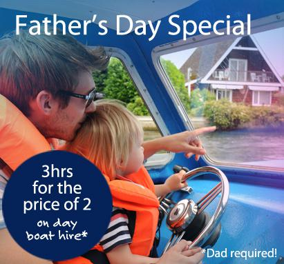 Father's Day Special Dayboat hire, Three hours for the price of Two!